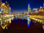 Melbourne at night looking down the yarra river — Stock Photo