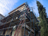 Scaffolding for old building — Stock Photo
