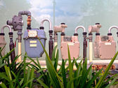 Three gas meters — Stock Photo