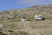 Namíbia carros de rua e campista — Foto Stock