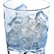 Glass with ice cubes closeup — Stock Photo