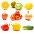 Set of different  fruits and vegetables isolated on white — Stock Photo