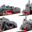 Set of antique steam locomotives on white background — Stock Photo #29448123