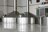 Steel fermentation vats on brewer factory — Stock Photo