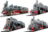 Set of antique steam locomotives on white background — Stock Photo