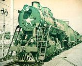 Vintage picture of steam locomotive — Stock Photo