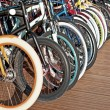 Stock Photo: Wheels of bicycles