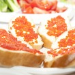 Sandwiches with red caviar — Stock Photo #30800843