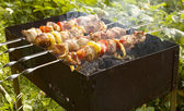 Grilling in garden — Stock Photo