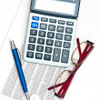 Stock Photo: Business chart with calculator, eyeglases, pen and coins