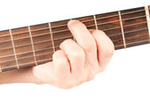 Acoustic guitar with performer hands — Stock Photo