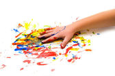 Child hand on colorful background — Stock Photo