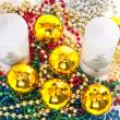 Candles, Christmas balls and tinsel — Stock Photo