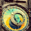 Old medieval astronomical clock in  Prague — Stock Photo