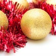 Christmas decoration.Yellow spheres closeup — Stock Photo