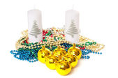 Christmas card. Candles and yellow spheres — Photo