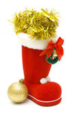 Red christmas boot and decoration — Stockfoto
