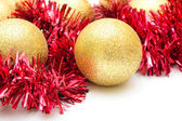 Christmas decoration.Yellow spheres closeup — Stockfoto
