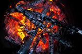 Verbrennung von Holz — Stockfoto