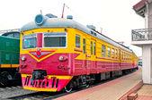 Locomotive on platform station — Stock Photo