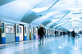 Passengers walk out from metro train — Stock Photo