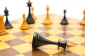 Chessboard.Losing king — Stock Photo