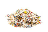 Shredded paper on white — Stock Photo
