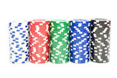 Stack of a poker chips on white background — Стоковое фото