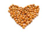 Hazelnuts as heart sign on white background — Stock Photo