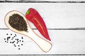 Paprika and peppercorns  — Stock Photo