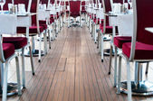 Red chairs in restaurant — Stock Photo