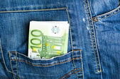 Pants jeans with euro banknotes in the pocket  — Stock Photo