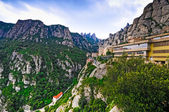 Mountains Montserrat and  monastery — Stock Photo