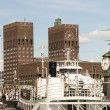 Panorama of City Hall and Harbor in Oslo — Stock Photo