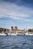 Pasillo de ciudad y el puerto de oslo — Foto de Stock