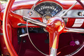 Steering Wheel of 1950s Style Car — Stock Photo