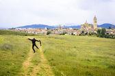 Happy Photographer because of Beautiful Toledo Panorama — 图库照片
