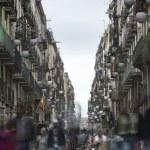 Tourists near Las Ramblas, Barcelona, Spain, Europe — Stock Photo