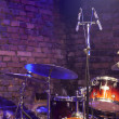 Drum Kit and Microphone on stage — Stock Photo