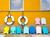 Swim boards and lifebuoy — Stock Photo