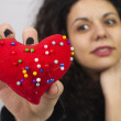 Heart shape pin cushion — Stock Photo