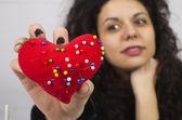 Heart shape pin cushion — Stock Photo