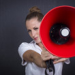Stock Photo: Business woman with red megaphone