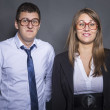 Foto Stock: Nerd business couple