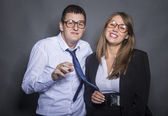 Nerd business couple — Stock Photo