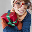 Nerdy christmas girl — Stock Photo