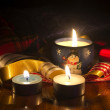 Christmas festive candles — Stock Photo