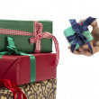 Santa Holding Christmas Gift — Stock Photo #35870387