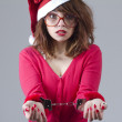 Christmas Girl Handcuffed — Stock Photo