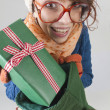 Nerdy christmas girl — Stockfoto